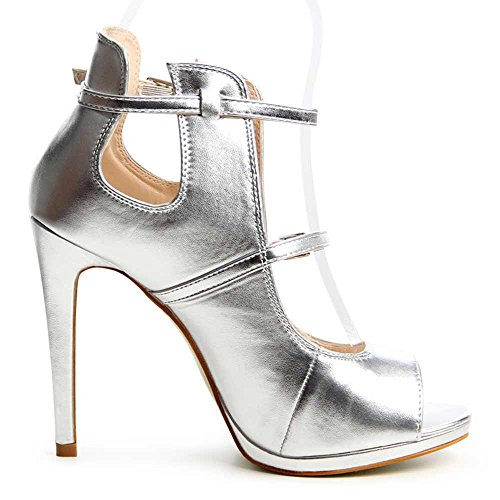 topschuhe24 - Sandalias de vestir para mujer, color plateado, talla 37