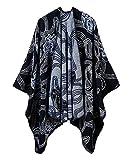 Women's Retro Style Tassel Shawls Cape Elegant Open Front Cardigans Warm For Fall, Winter (#3 Black)