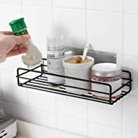 ZIZLY Multipurpose Metal Bathroom Rack and Shelves Organizer Bathroom Shelf Wall Mounted Magic Sticker Shower Caddies Rack Holder for Kitchen Rack - Multi Color