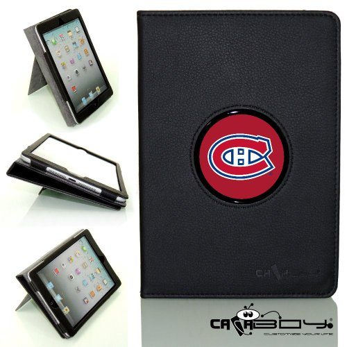 New SLEEP SMART Apple iPad Mini & iPad Mini with Retina leather Case By Calaboy- Interchangeable Design - Personalized Picture Frame w NHL Hockey Montreal Canadiens Logo (hp26)