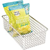 mDesign Household Wire Storage Basket with Handles for Kitchen Cabinets, Pantry, Bathroom - Large, Satin