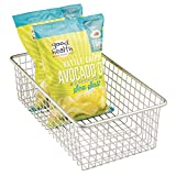 mDesign Household Wire Storage Basket with Handles for Kitchen Cabinets, Pantry - Large, Satin