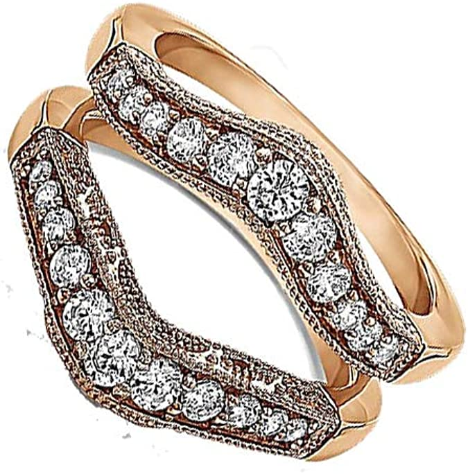 Trendzjewels 0.80 Carat Created White Diamond Womens Wedding Engagement Ring Guard Enhancer 14K Twotone Gold Plated