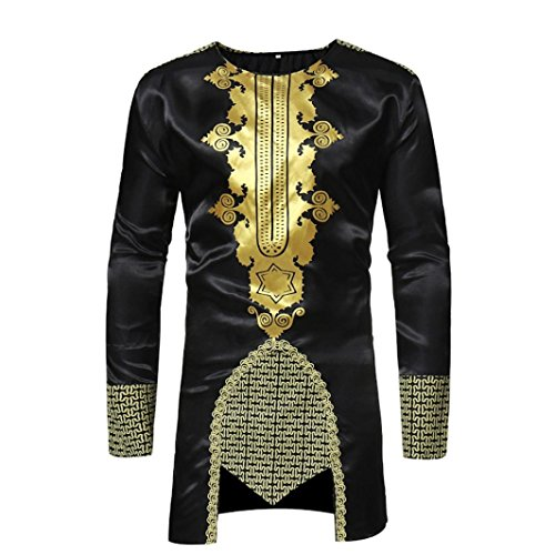 Realdo Mens Long Dashiki, Men's West African Traditional National Hot Gold Printed Long-Sleeved T-Shirt(Black,Large)