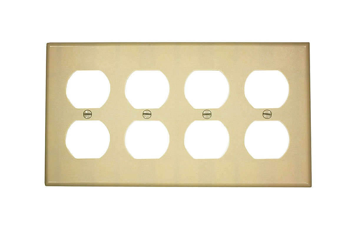 Leviton 86041 4-Gang Duplex Device Receptacle Wallplate, Thermoset ...