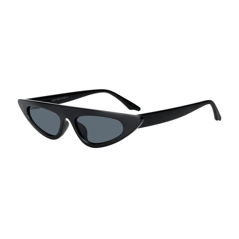 ROYAL GIRL Flat Top Cat Eye Sunglasses Women Slender Small Retro Vintage Clout Goggles Designer Shades (black)