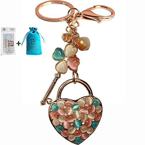 Bolbove Opal Four-leaf Clover Key to Love Heart Keychain Crystal Rhinestone Purse Pendant Handbag Charm
