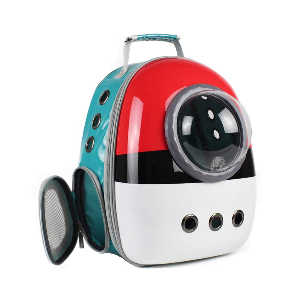Travel Pet Backpack Waterproof Capsule Astronaut Pet Cat Dog Carrier Bubble Breathable Outdoor Portable Premium Backpack (42cmX27cmX29cm) Red