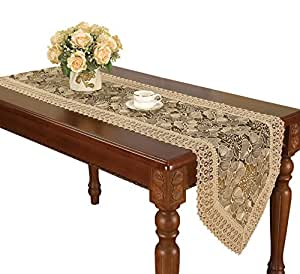 Lilian beige coffee floral lace table runner for Coffee table 72 inch