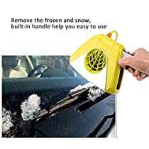 DC 12V Car Portable Defroster Demister Car 2 in 1 Heater Warmer Cold Warm Wind Car Electronic Fan Heater Defroster Snow Melter Defogger Air Purifier with LED Light Insurance Film(yellow)