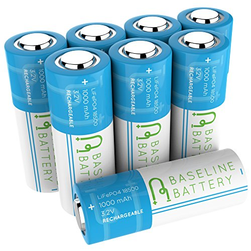 8 Baseline Battery 1000 mAh IFR 18500 3.2v LiFePO4 Lithium Phosphate Rechargeable Batteries Solar Garden Light