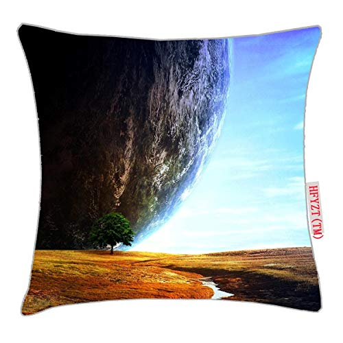 (HFYZT Planets, Sci fi, Space, Nature, Trees, Landscape Planet Standard Throw Pillowcase 18X18 Inch)