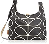 Orla Kiely Etc Giant Linear Stem Midi Sling Bag, Black+Cream