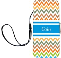"""Rikki Knight """"Cain"""" Blue Chevron Name Flip Wallet iPhoneCase with Magnetic Flap for iPhone 5/5s - """"Cain"""" Blue Chevron Name"""