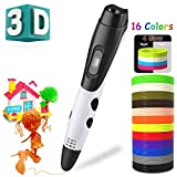 BeTIM 3D Pen for Kids Adults with 16 Colors 160Ft PLA Filament Refills 3D Drawing Printing Printer Pen with LCD Screen Automatic Feeding,Christmas Gifts Toys Non-Clogging (White with 16 Colors PLA)