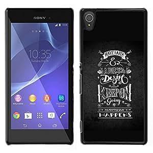 Sony Xperia T3 , JackGot - Impreso colorido protector duro espalda Funda piel de Shell (Keep On Going Riding Negro Blanco)