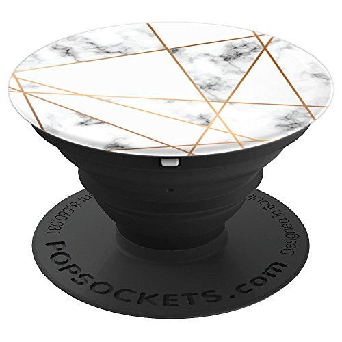 Golden Lines Pattern on White Marble - PopSockets Grip and Stand for Phones and Tablets