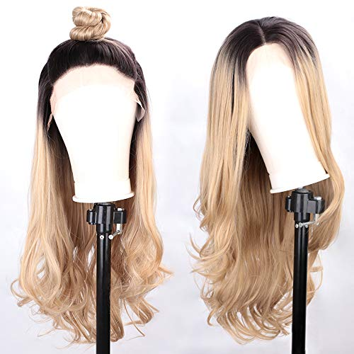 Wigs Same Day Shipping (Ombre Blonde Wig Synthetic Lace Front Wigs for Women Long Natural Wavy Hair Brown RootsHeat Resistant Wigs Middle Parting with Wigs)