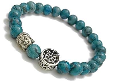 Amazon.com: Pulsera budista con rueda de Dharma de Buda azul ...
