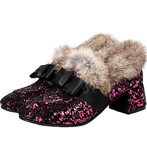 ENMAYER Damen Winter Pumps Schuh Keilabsatz Mandelförmige Zehen mit Pelz Rot