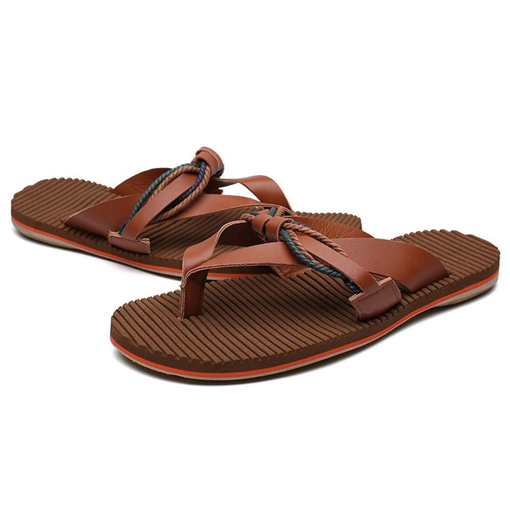 Durable Slippers for Men Flip-Flops Casual Slip On Style PU Leather Fashion Knitting Simple Pure Color