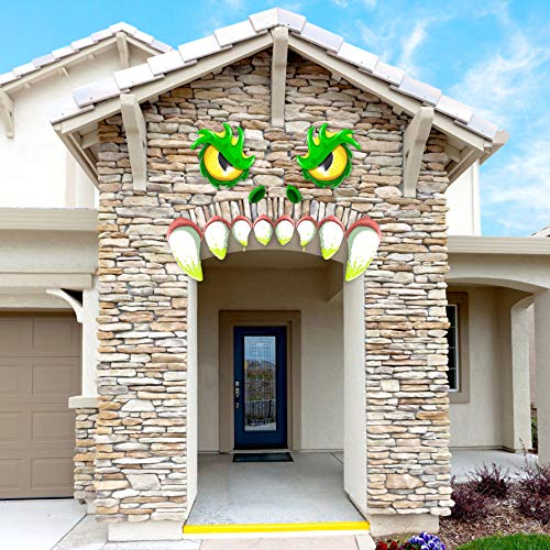 JOYIN Monster Face Halloween Archway Garage Door Decoration with Eyes, Fangs, Nostrils and Double Face Stickers (21 inches Eyes & Fangs)]()