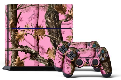 Price comparison product image PS4 Console Designer Skin for Sony PlayStation 4 System plus Two(2) Decals for: PS4 Dualshock Controller Pink Camo