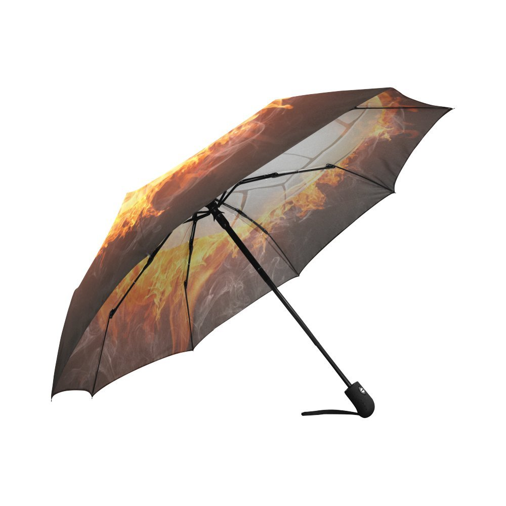 Compact Automatic Open and Close Folding UV and Rain Umbrella InterestPrint Funny Bright Flamy Soccer Ball 100/% Polyester Pongee Windproof Fabric Travel Umbrella