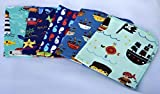 1 Ply Printed Flannel 12x12 inches - Pirate Adventure 5 Pack