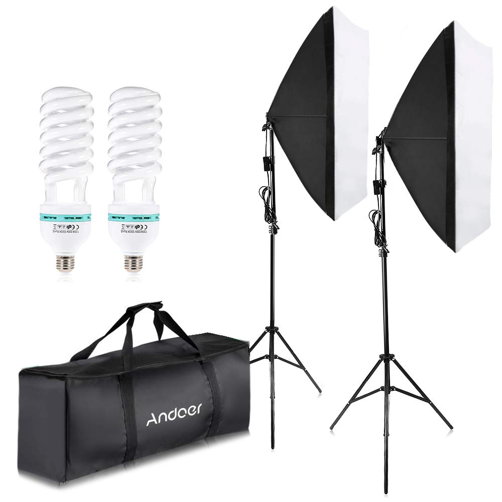 Andoer 1350W Photography Lighting Kit Professional Studio Softbox Continuous Lighting Kit 5500K with 200cm Light Stand 50x70cm Softbox and Carrying Bag for Studio Photography by Andoer