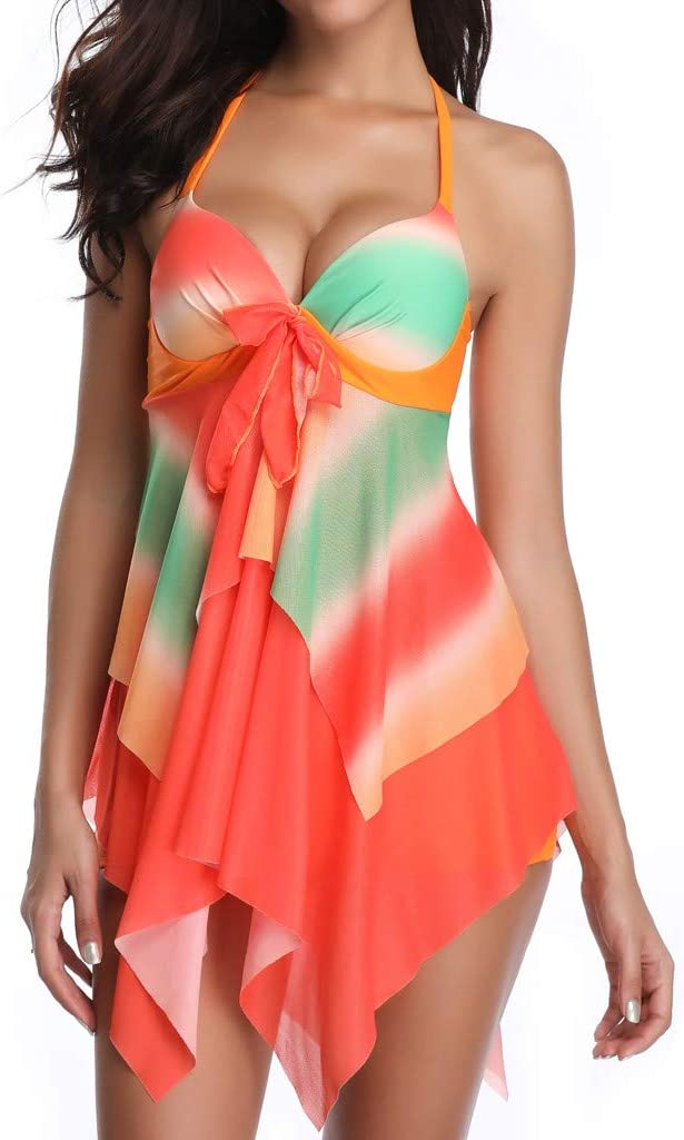 DMZing Womens Bathing Beach Suit Bikini Monokini Tankini Swimwear Boy Shorts Print Hallmark Hot