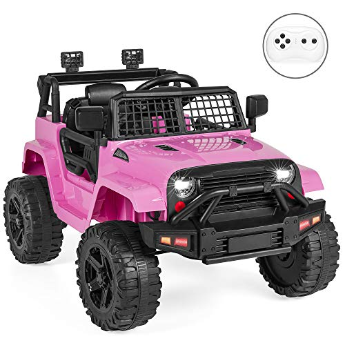 Best Choice Products 12V Kids Ride On Truck Car w/Parent Remote Control, Spring Suspension, LED Lights, AUX Port - Pink