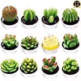 12 Pieces Handmade Delicate Succulent Cactus Tealight Candles Artificial Succulents Decorative Tealight Candles for Spa Home Party Wedding Decoration Gifts