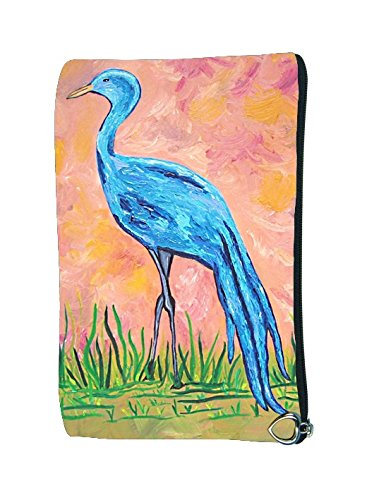 - Cosmetic Bag, Zipper Pouch - Zip-top Closer - Taken From My Original Paintings - Animals (Blue Crane - Paradise Crane)