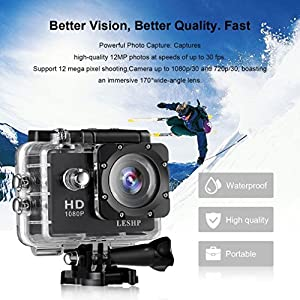 Action Camera, 12 MP 4K Full HD 1080P WiFi Waterproof Mini Sport Cam with 170 Wide-Angle Lens, 2.0 Inch LTPS Screen and Detachable Rechargeable Battery (Black, Basic section)