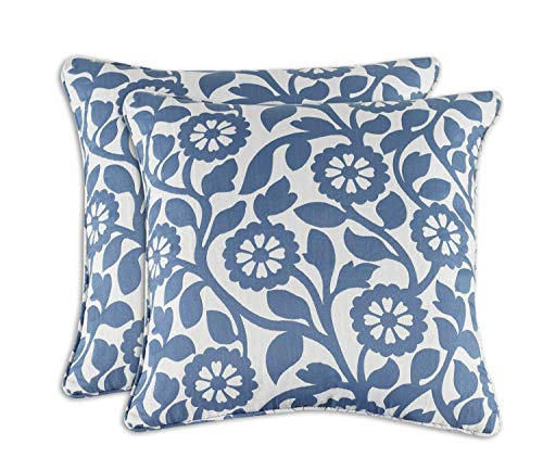 Blue Throw Pillow Covers 2 PACK, 18x18 Inch - Indoor Flora Decorative Lumbar Sequin, Couch, Square Back Cushion Cover, Cases, Shams for Sofa, Love-seat, Futons, Navy