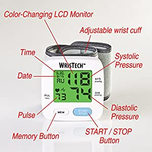 "North American Health & Wellness Color Changing Wrist Blood Pressure Monitor with Green, Yellow, Red Coded Readings on 2"" LCD Screen and Irregular Heartbeat Indicator, One Size Fits All"