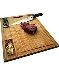 HHXRISE Venfon Large Organic Bamboo Cutting Board For Kitchen, With 3 Built-In Compartments And Juice Grooves, Heavy Duty Chopping Board For Meats Bread Fruits, Butcher Block, Carving Board, BPA Free