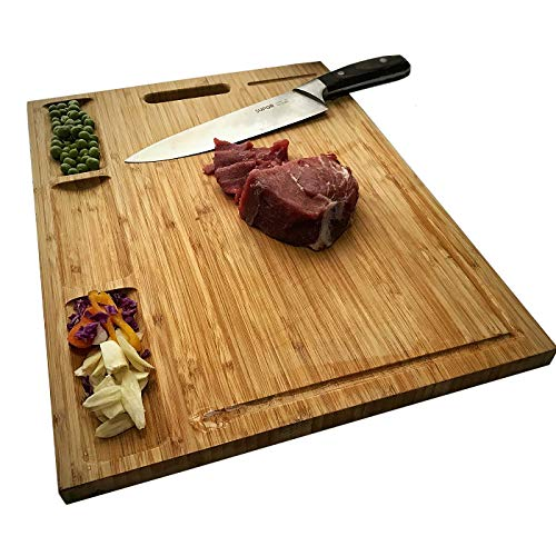 (HHXRISE Large Organic Bamboo Cutting Board For Kitchen, With 3 Built-In Compartments And Juice Grooves, Heavy Duty Chopping Board For Meats Bread Fruits, Butcher Block, Carving Board, BPA)