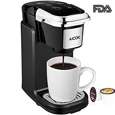 Aicok Single Serve Coffee Maker, Single Cup Travel Coffee Brewer with Removable Cover for Most Single Cup Pods including K-CUP pods, Quick Brew Technology, 800W, Black