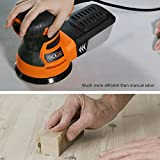 TACKLIFE 5-Inch Random Orbit Sander 3.0A with 12Pcs Sandpapers, 6 Variable Speed 13000RPM Electric Sander, High Performance Dust Collection System, Ideal for DIY - PRS01A