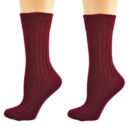 Maroon Womens Socks - Sierra Socks Women's Acrylic Cable Crew Colorful 2 Pair Pack 2291 (Fits Shoe Size 4-10, Socks Size 9-11, Dk. Maroon)