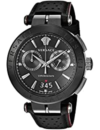 Men s   Aion Chrono Quartz Stainless Steel and Leather Casual Watch,  Color Black ( · Versace 82d21a02c02