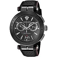 Versace Men's 'Aion Chrono' Quartz Stainless Steel and Leather Casual Watch, Color:Black (Model: VBR030017)