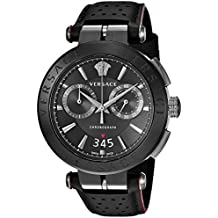 Versace Men's ' Aion Chrono Quartz Stainless Steel and Leather Casual Watch, Color:Black (Model: VBR030017