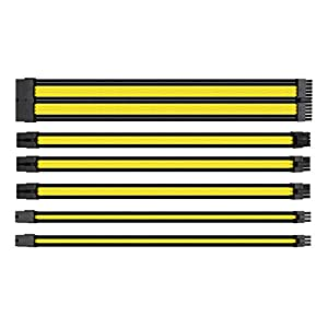Thermaltake TtMod Sleeve Extension Power Supply Cable Kit ATX/EPS/8-pin PCI-E/6-pin PCI-E with Combs, Yellow/Black AC…