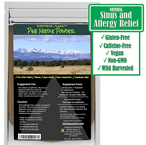 Wild Harvested Pine Needle Powder Supplement - Raw Vegan Non-GMO Zero Sugar No Added Salt Preservative Free - For Smoothie Beverage Blend - 65 Gram Pack