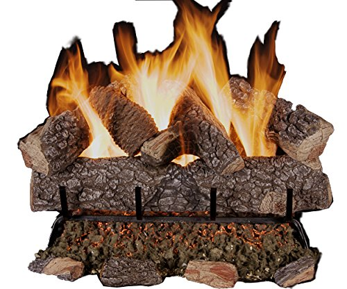 Rasmussen Crestline Oak 24-inch 10-Piece Log Set With Vented Flaming Ember Burner & Grate, Match Lit, Natural Gas Only - Grate Vented Natural Gas Log
