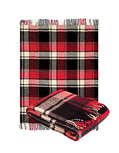 "Blanket Red Tartan (Pure Wool Throw Blanket with fringe 55x79"" (Twin) classical Tartan Red, Medium Weight, made in Europe By Yaroslav Mill.)"