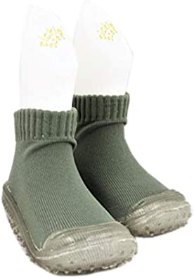 Tickle Toes Olive Plain Clear Sole Non Skids Proof Shoes 4266